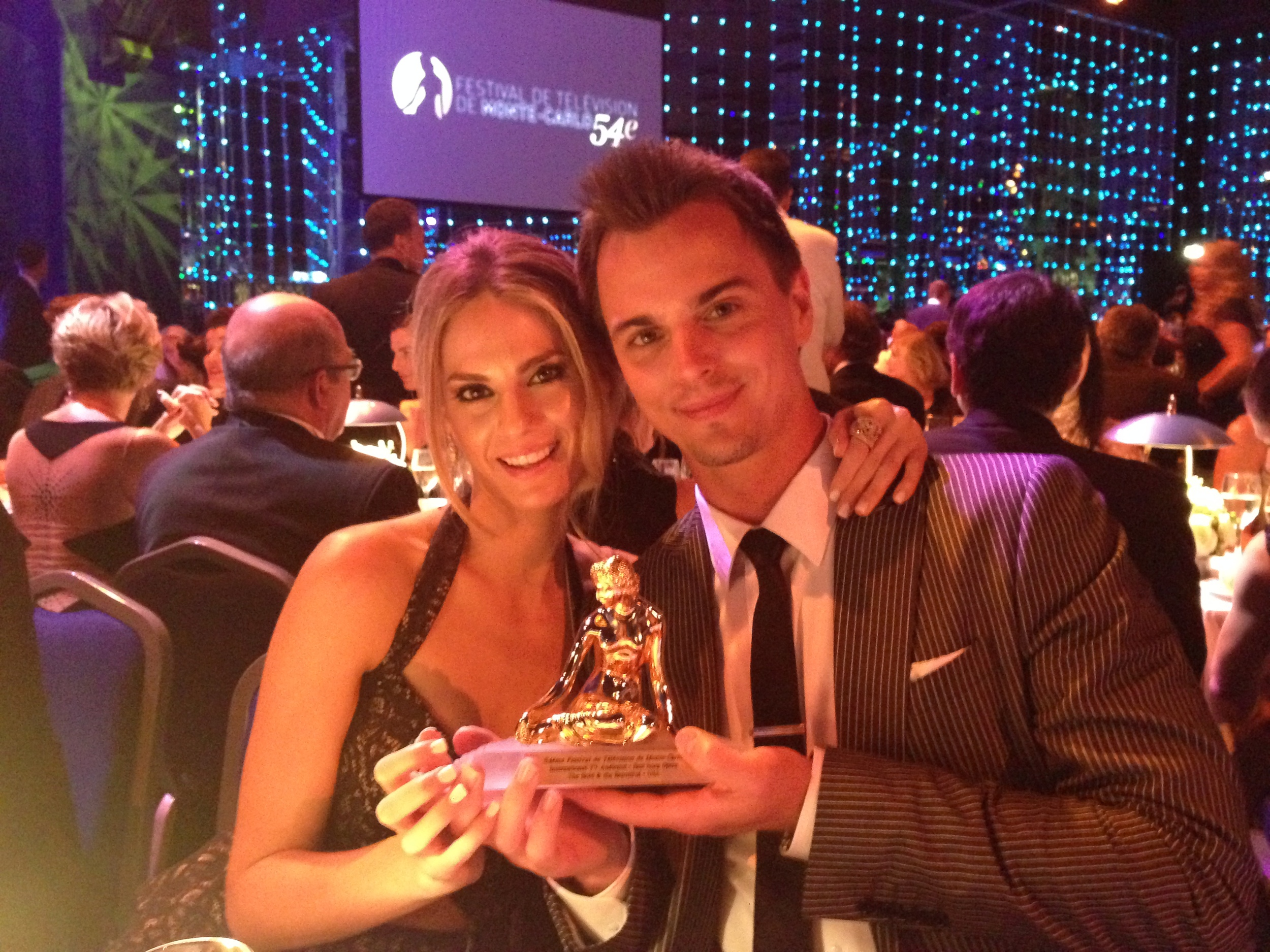 Darin and I with the Golden Nymph award.