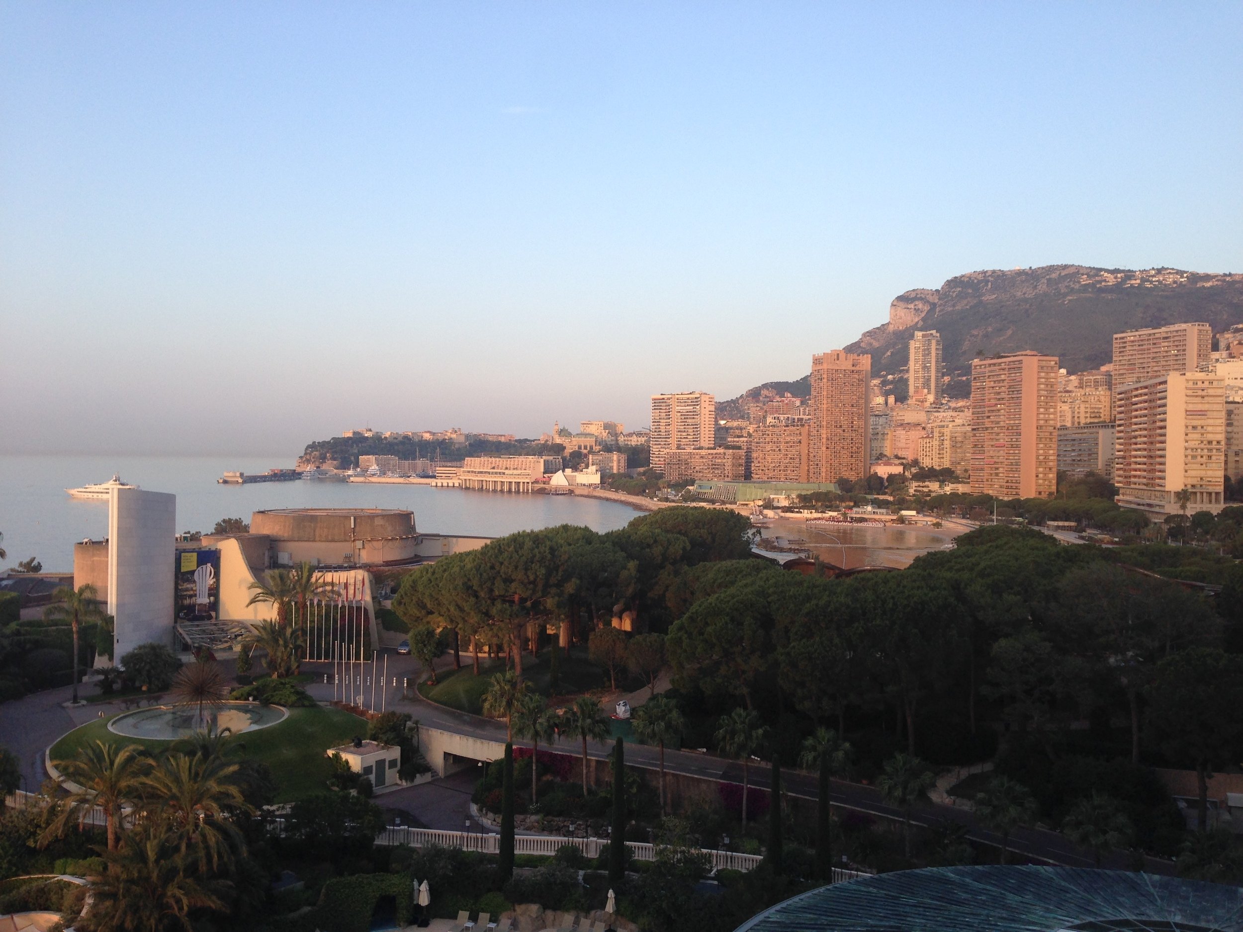 Beautiful view from our hotel room at the Monte Carlo Bay Hotel