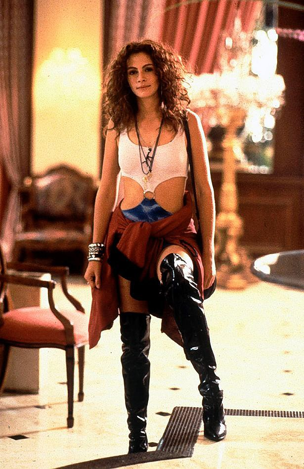 In , Julia Roberts wore a now-iconic outfit of black leather boots, blonde wig, and white tank top connected by a gold ring to a blue mini-skirt when she portrayed Pretty Woman's hooker-with-a-heart-of-gold Vivian Ward. The Pretty Woman inspired costume has sparked controversy in the past.