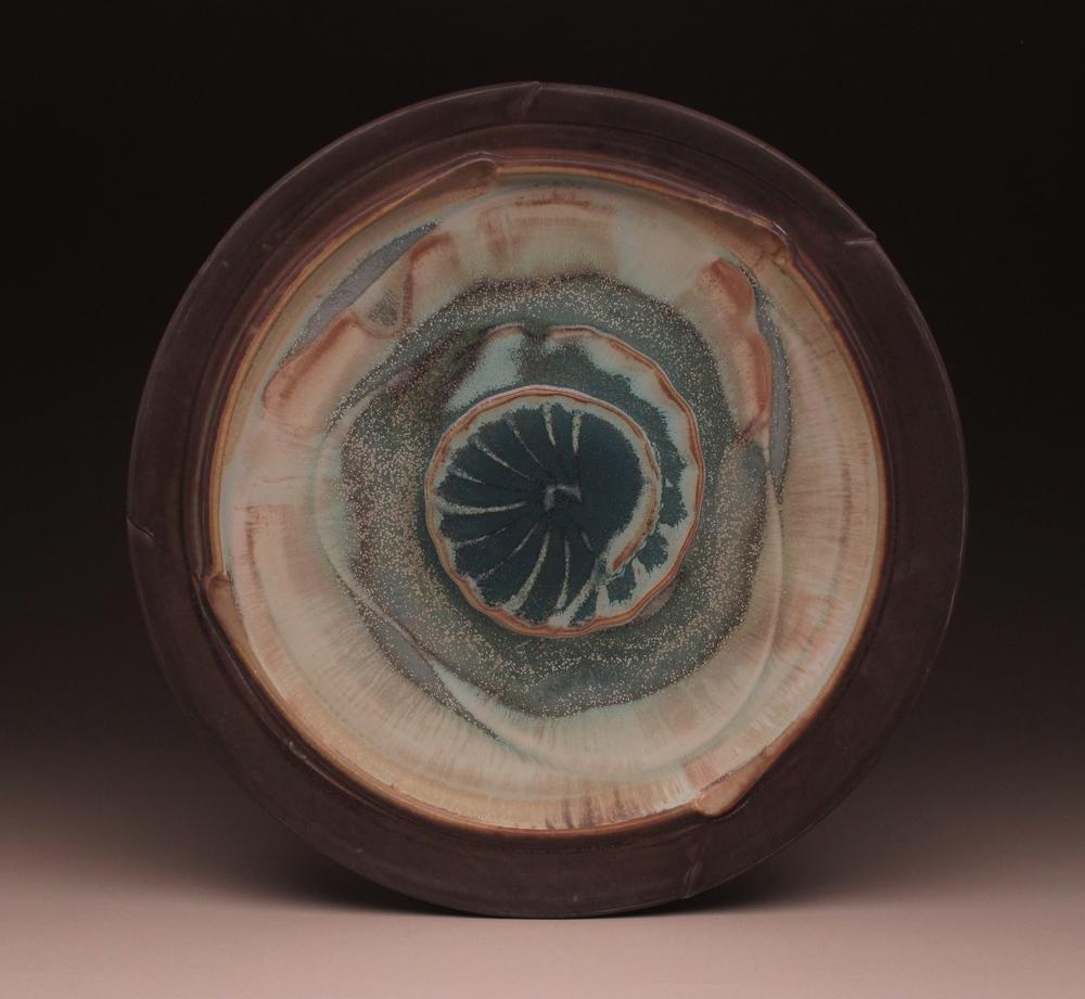 """Platter , ribbed slip design, multiple sprayed glazes, ^8 electric fired, 19"""" diameter, 2014"""