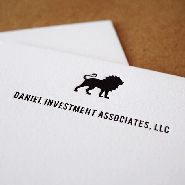 Daniel Investment Associates || Not our typical wedding suite, but such a fun re-branding project! What's not to love about this letterpressed lion?! #customdesign #graphicdesign #rebrand #santabarbaradesign #letterpress #Ellamade