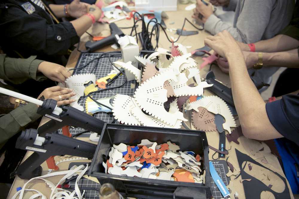 MakerLab station with all materials and tools for miniature shoe creation