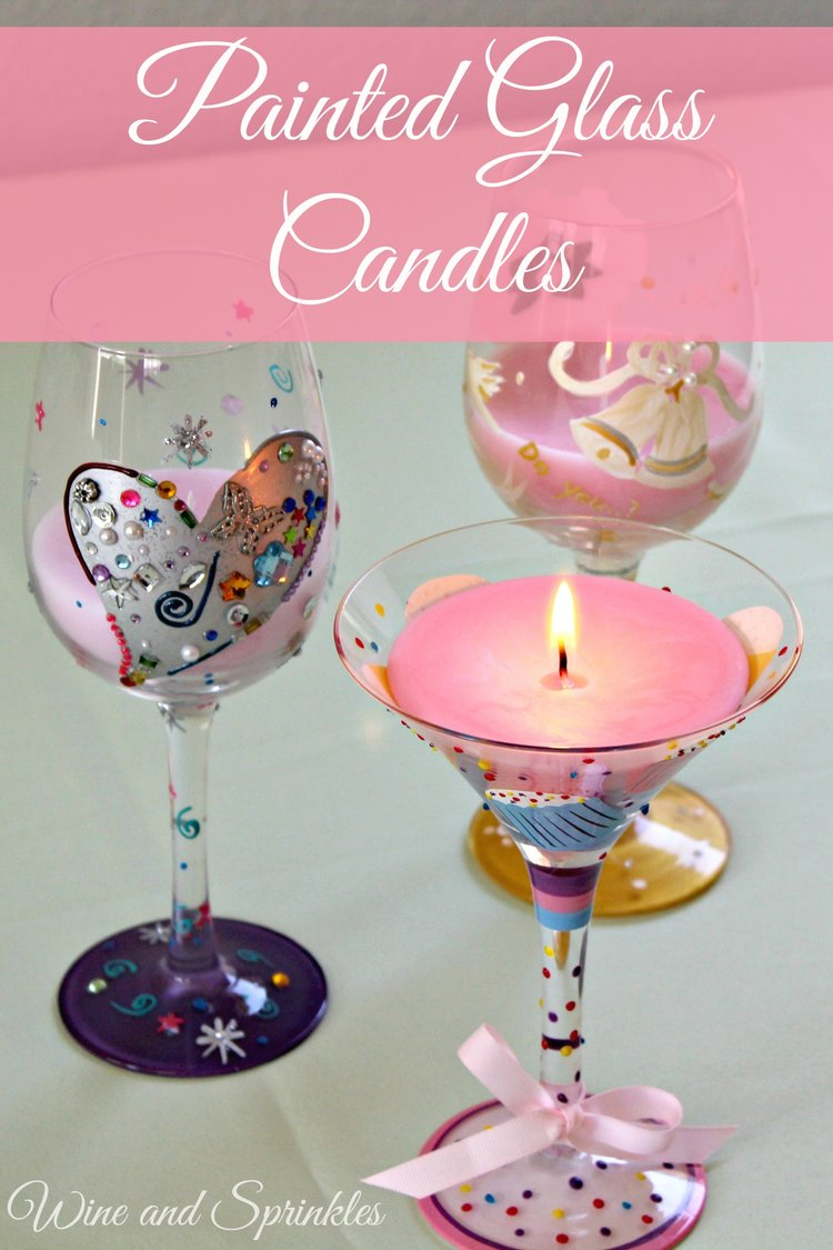 Painted Wine & Martini Glass Candles — Wine & Sprinkles