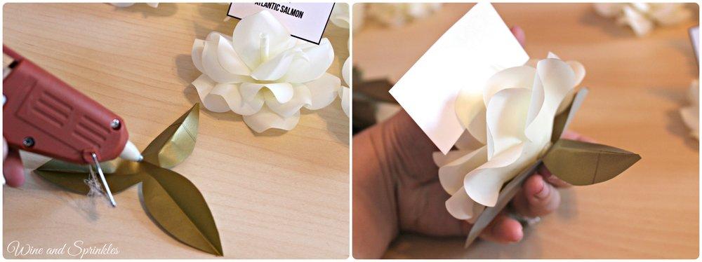 DIY Paper Rose Place Cards #diywedding #cricutproject #placecards