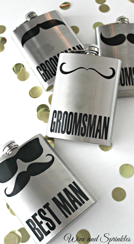 DIY Groomsman Mustache Flasks with free cut files #groomsman #diywedding #flasks #cricut