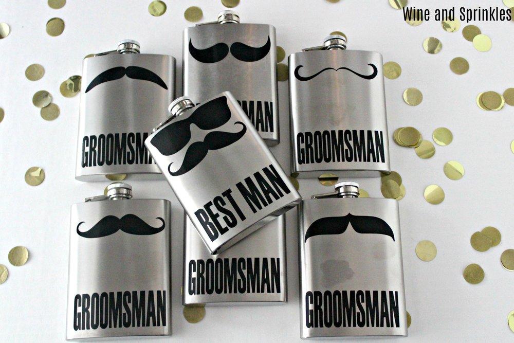 DIY Groomsman Mustache Flasks #groomsman #diywedding #flasks #cricut