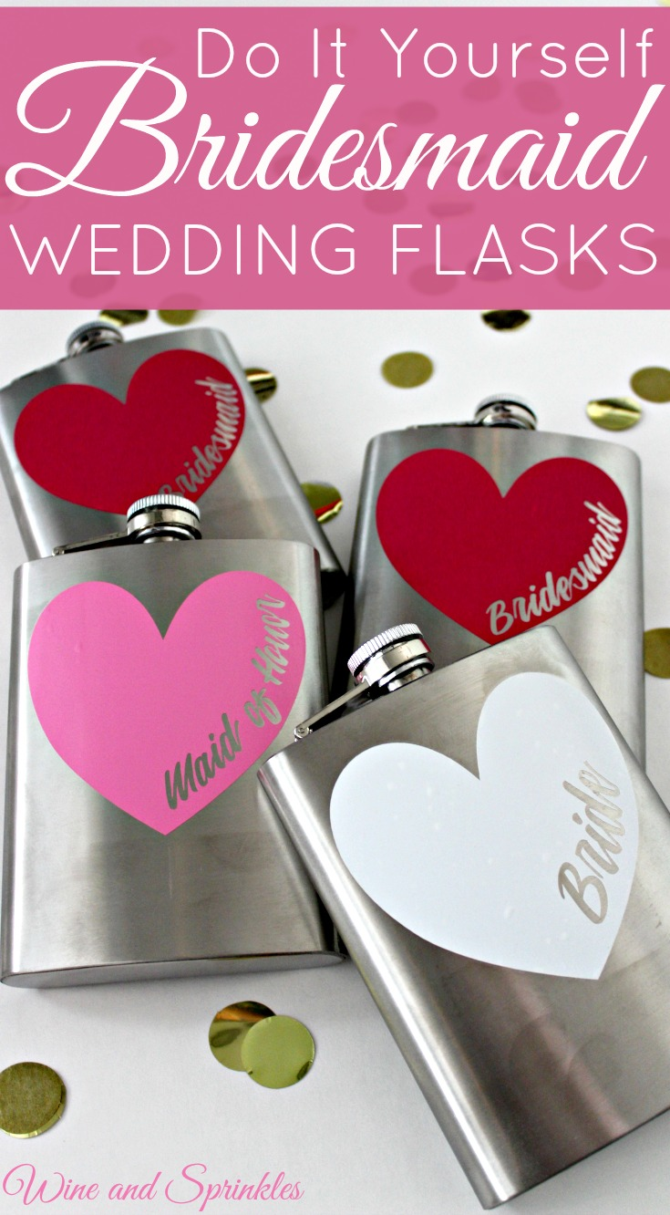 How to DIY your own Bridesmaid Wedding Flasks with Free Cut Files! #cricut #diywedding #flasks #bridesmaid