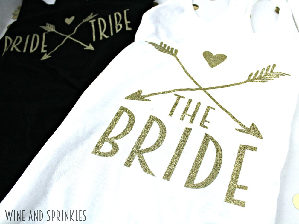 DIY Iron on Bride Tribe Tank Tops #diywedding #cricutprojects #htv