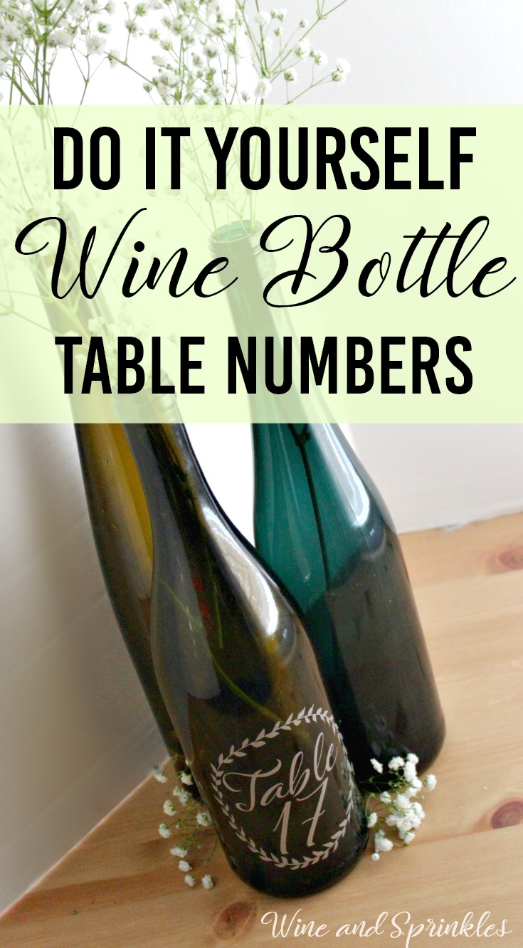 DIY Wreath Wine Bottle Table Numbers #diywedding #cricutprojects #tablenumbers #winebottlecrafts