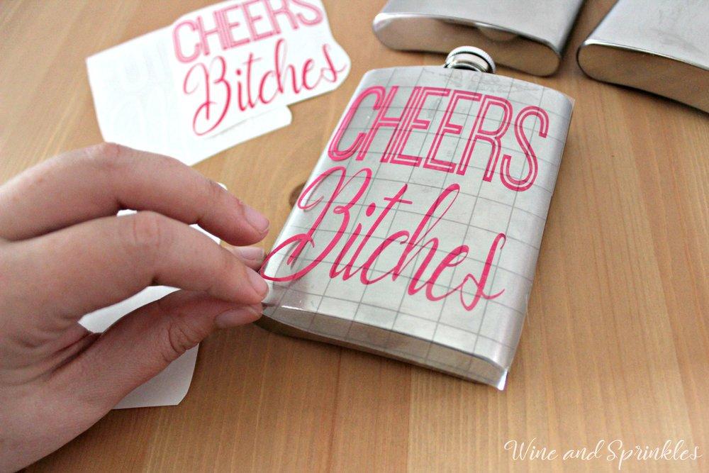 DIY Vinyl Cheer Bitches Bachelorette Party Flasks #bachelorette #cricutprojects #diywedding