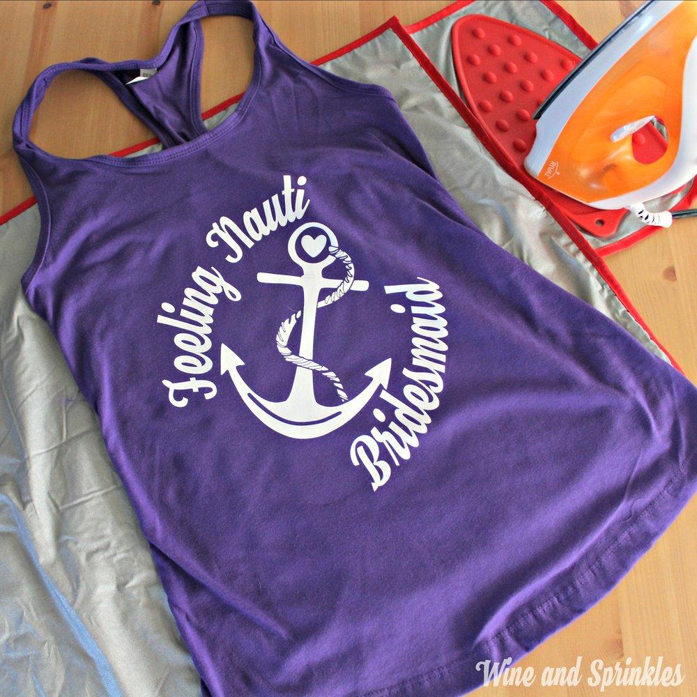 DIY Nautical Bachelorette Tank Tops #bachelorette #cricutprojects #feelingnauti #shipfaced