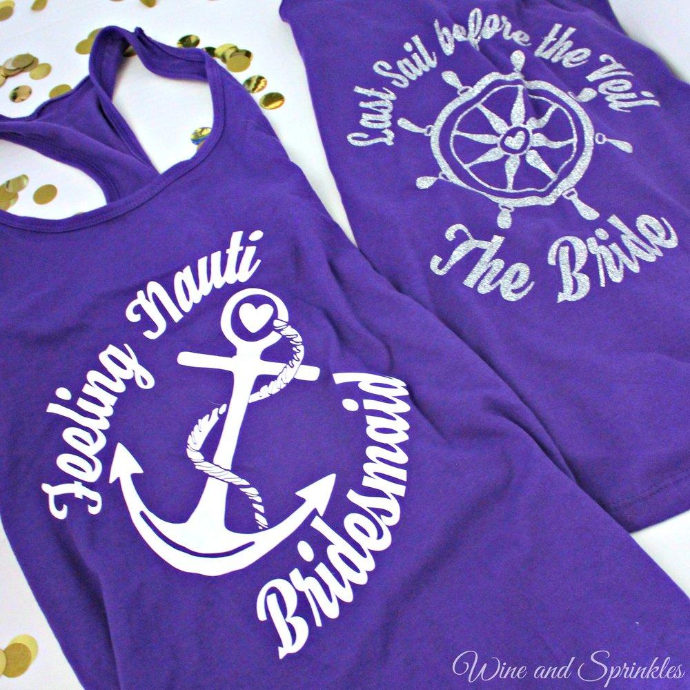 IDIY Nautical Bachelorette Tank Tops #bachelorette #cricutprojects #feelingnauti #shipfaced