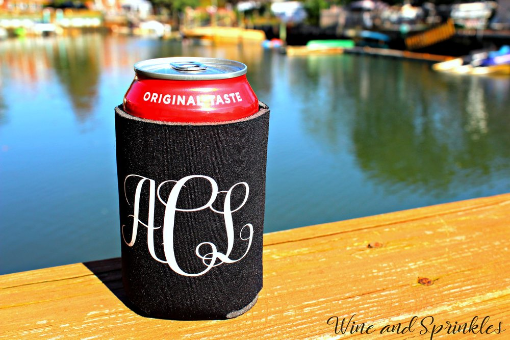 DIY Iron On Monogrammed Koozies #cricutprojects #cricut #koozies #monogram
