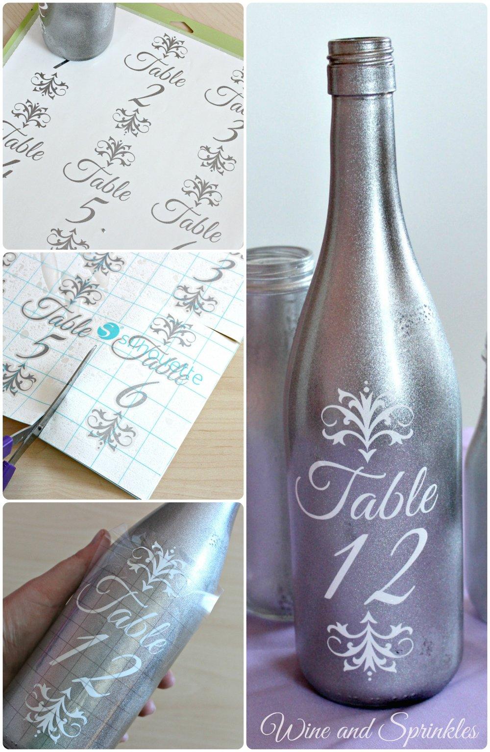 Vinyl Wine Bottle Table Numbers #svgfiles #winebottle #diywedding