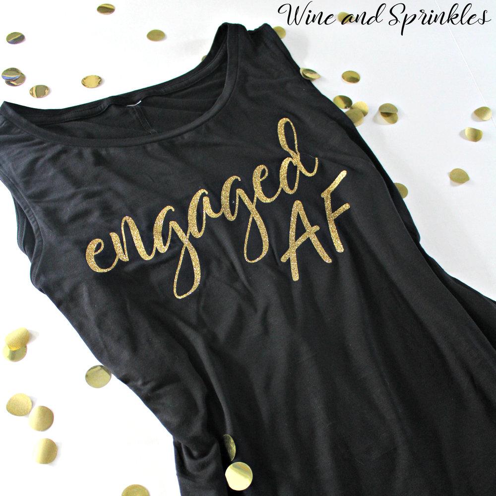 DIY Iron on Engaged AF Bridal Tank Tops #engagedaf #htvvinyl #cricut