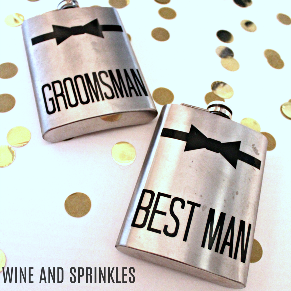 DIY Bowtie Groomsman Flasks #groomsman #suitup #flasks
