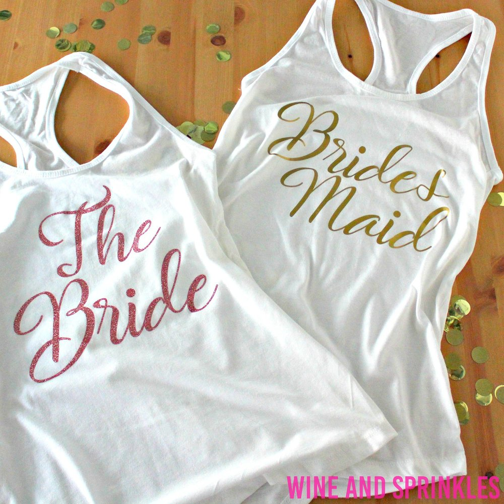 DIY HTV Iron On Bridal Party Getting Ready Tank Tops #diywedding #svgfiles #bridesmaid