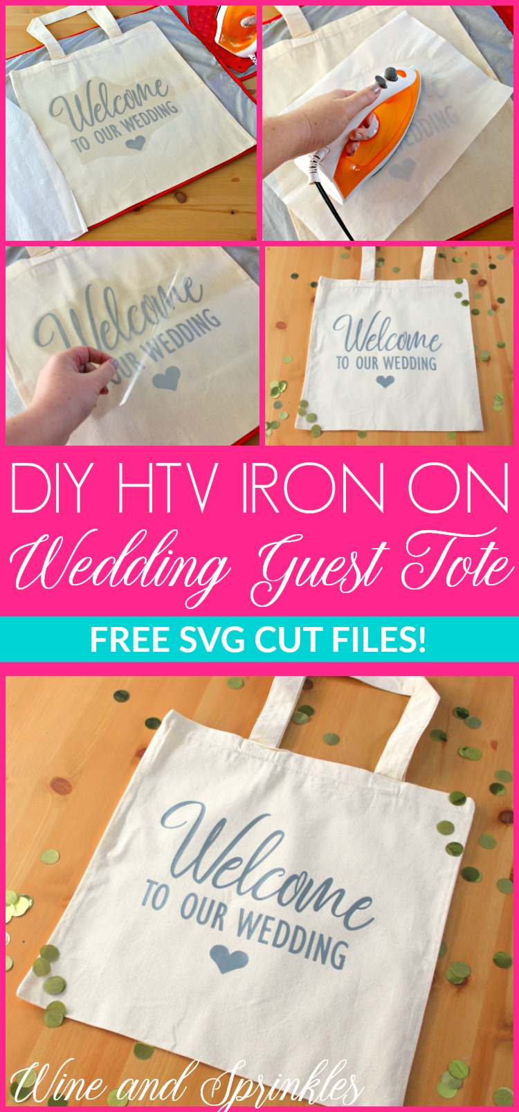 DIY HTV Welcome to Our Wedding Guest Tote Bags #weddingguest #diywedding #totebag
