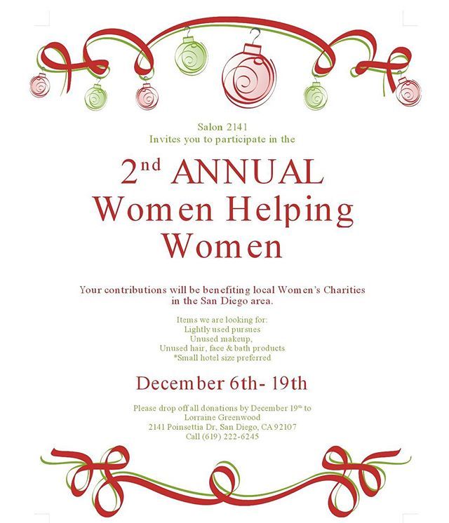 Give back this holiday season to local women charities in the SD area!  Accepting donations till Dec 19th drop them by Salon 2141. #tistheseason #giveback #holidaygiving #womenhelpingwomen #SD #charity #holidays #dogood #donate