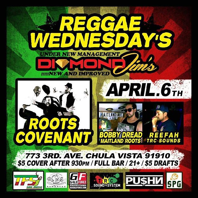 @RootsCovenant kicks off a busy April tomorrow night at the new and improved #DiamondJims in #ChulaVista for #ReggaeWednesdays!  @akcisneros @rasklaw @milintica @omarlopezbass @davestranger @theartofchris @reefah_trc @bobbydread619 #DivineLight