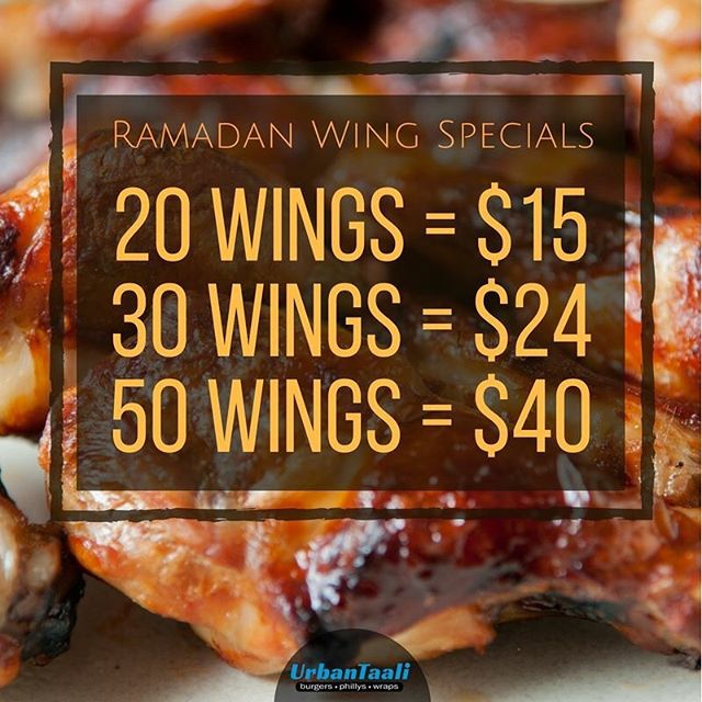 Who doesn't love wings?! All of these deals come in your choice of hot, honey BBQ, or lemon pepper sauce. Share with your friends, or eat them all by yourself... 😏 ⠀ -⠀ #Ramadan #RamadanSpecial #Wings #Iftar #Deal #UrbanTaali #FeastYourEyes #Wrap #Halal #StreetFood #AtlantaStreetFood #Phillys #Burgers #Fries #Yum #NomNom #FoodPorn #Foodie #Atlanta #Restaurant #Hotlanta #ATL #ATLFoodTrucks #FoodTruck #Delicious #Health #Yummy #Food #RiceBowl #Taalis