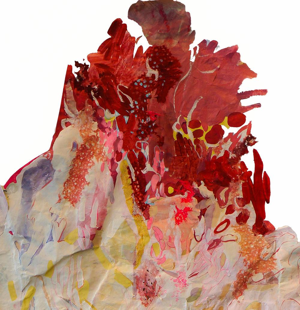 Tyvek, acrylic paint, cut paper, craft paper, dimensional paint 2014