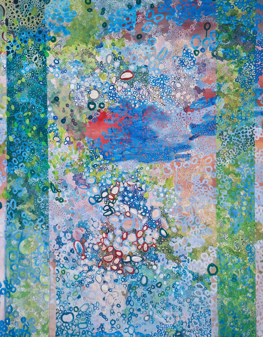 Flenniken Pond, acrylic on canvas, 36 x 48 in, 2016