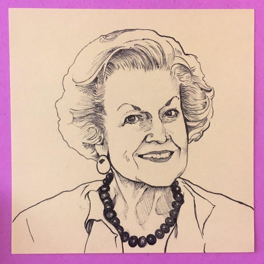 Mrs Stumm, 3x3 in., ballpoint pen