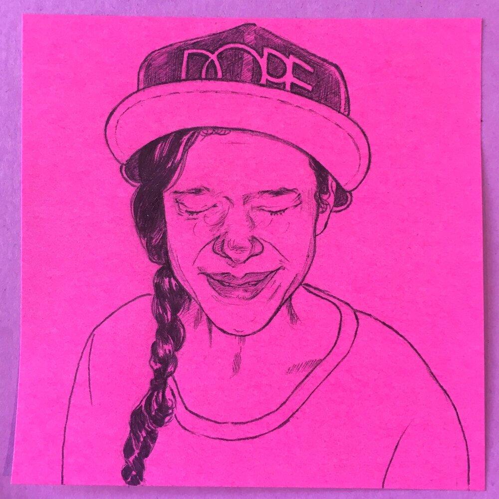 Dope Hat, 3x3 in., ballpoint pen
