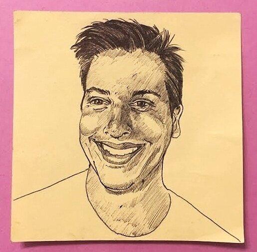 Ryan, 3x3 in., ballpoint pen