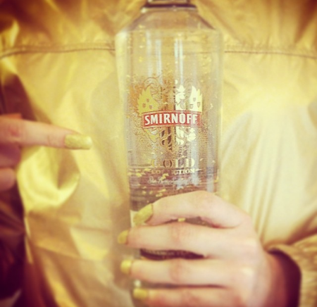 Smirnoff Gold, and essential part of the 'Gold' costume.