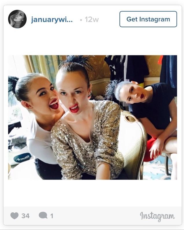 January Russell's backstage pics on Instagram