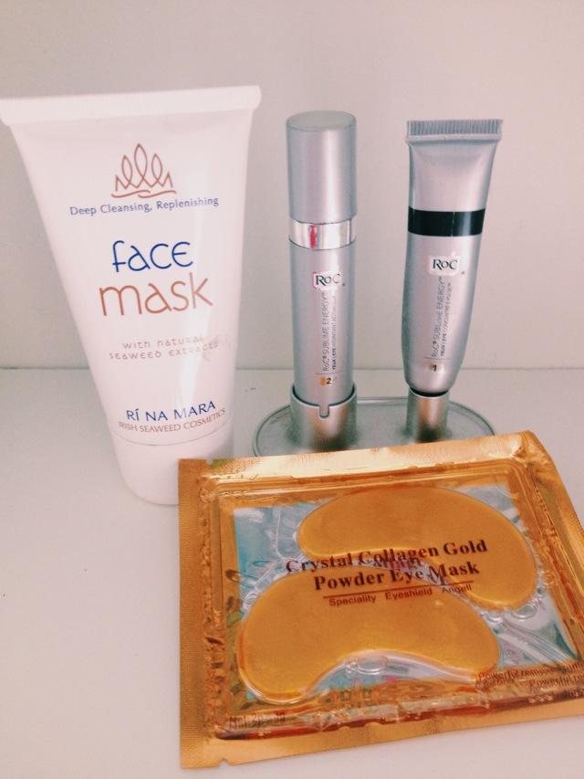 Gold Collagen eye mask, Rí Na Mara face masks and Roc eye cream.