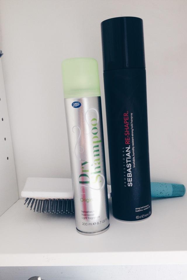 Boots dry shampoo and Sebastian hair spray