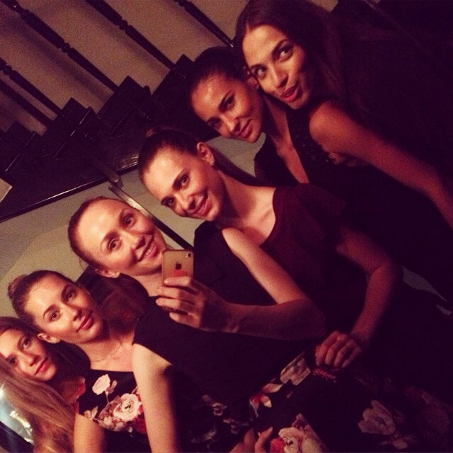The models and me, happy after a good show.