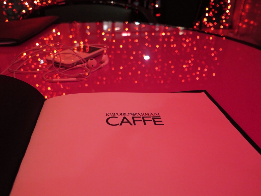 The menu inside the Emporio Armani Caffe