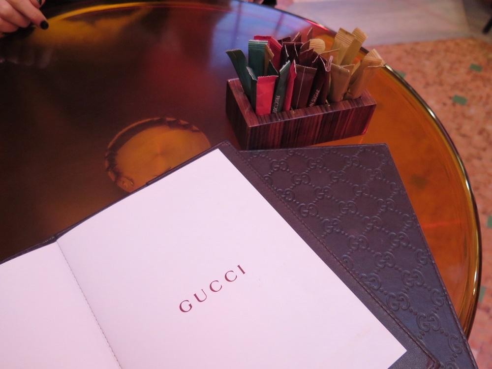 Gucci Cafe menu