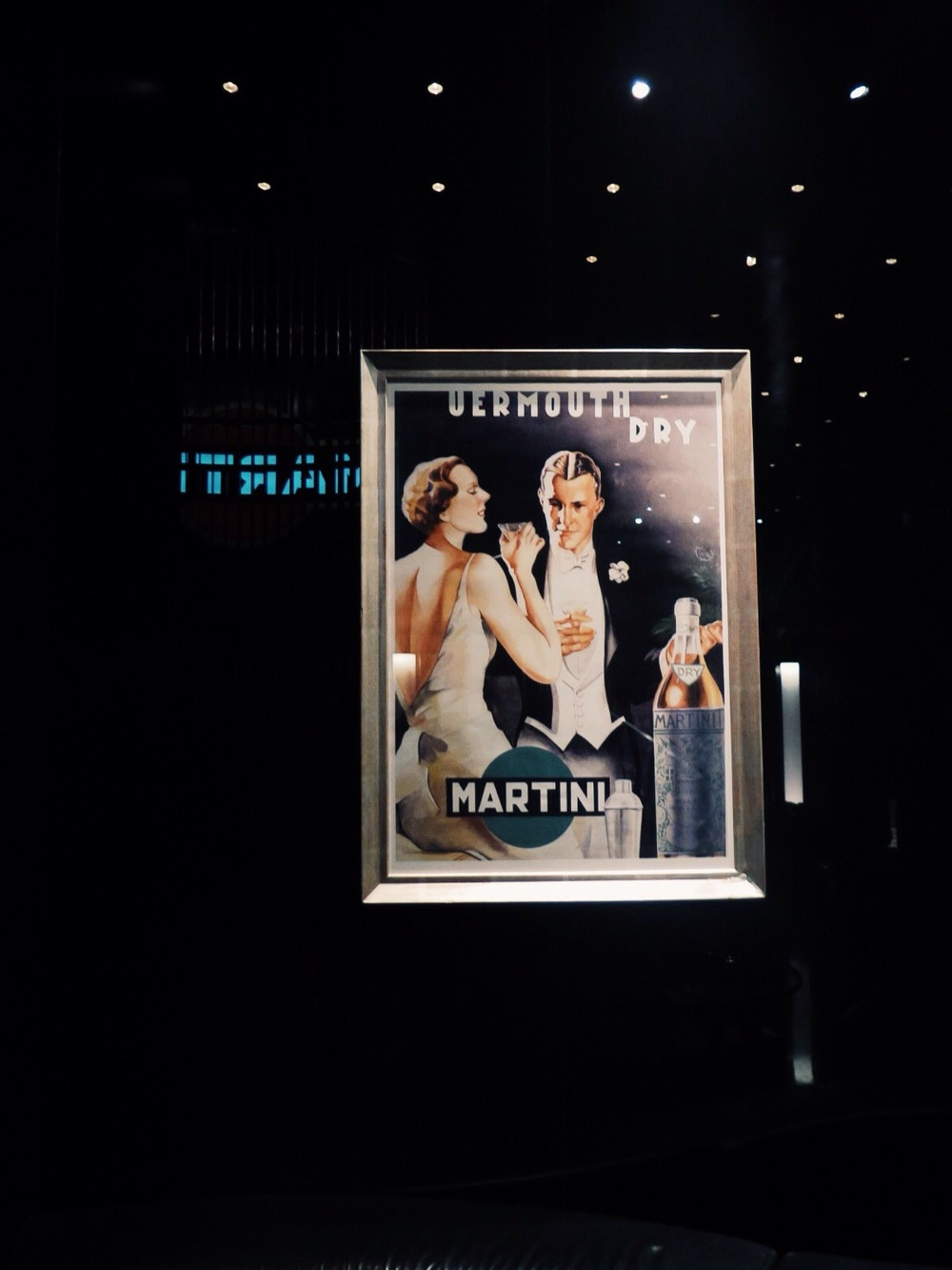 Vintage poster in the Martini Bar