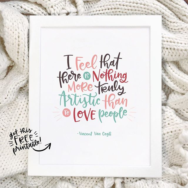 """Good morning friends! Thanks again for all your sweet comments on my new collection. 😊 I just wanted to let you know that I have a FREE printable hand lettered print for all you awesome people in my link in profile. 8x10"""", immediate download, print yourself. So easy! 😊 . If you hang it up, share a photo and tag me! I'd love to see!"""
