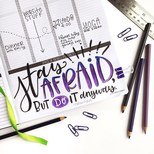 """Happy Friday! 🤗 . I've been working on some things that are out of my comfort zone lately, so I felt this was the perfect quote to have in my Passion Planner for the week. . """"Stay afraid, but do it anyway. What's important is the action. You don't have to wait to be confident. Just do it and eventually the confidence will follow."""" —Carrie Fisher . Have you done anything lately that was out of your comfort zone? . #passionplanner #pashfam"""