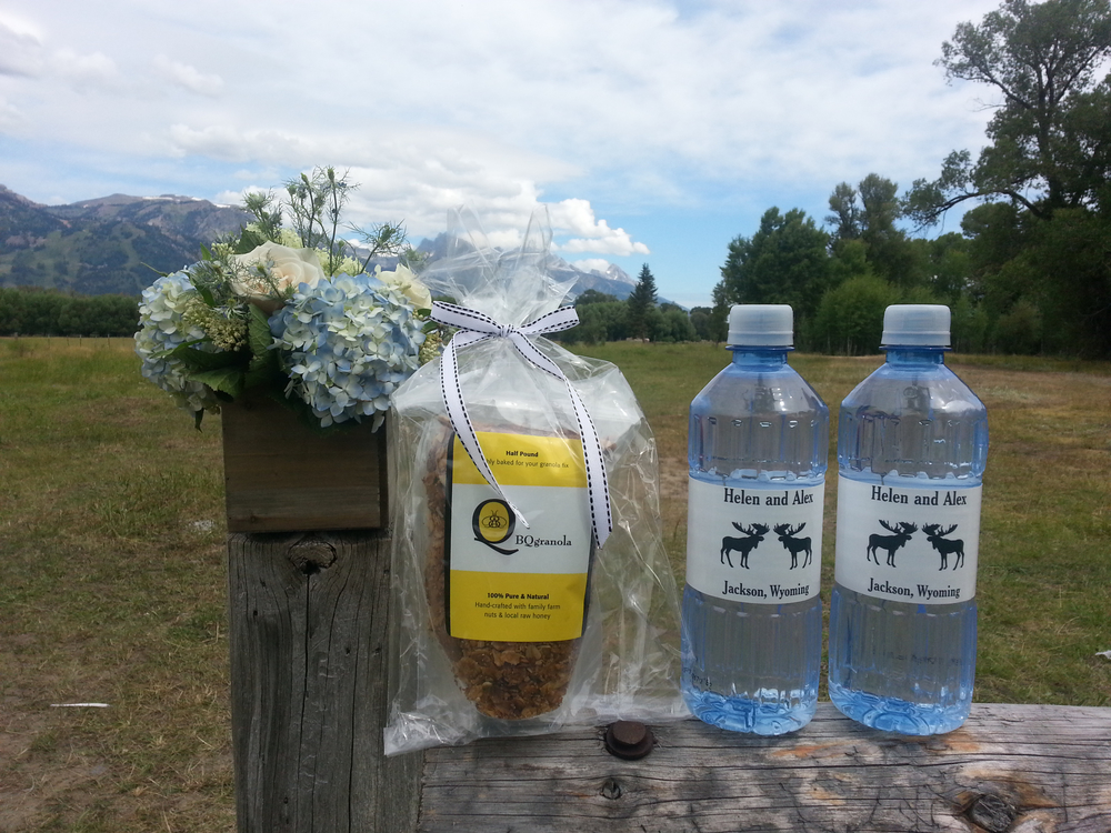 BQgranola for out of town wedding guests in Jackson Hole, WY, July 2015