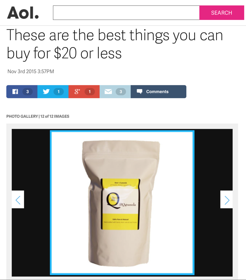 BQgranola Featured on AOL as a Top 20 Best Buy for $20 or Less