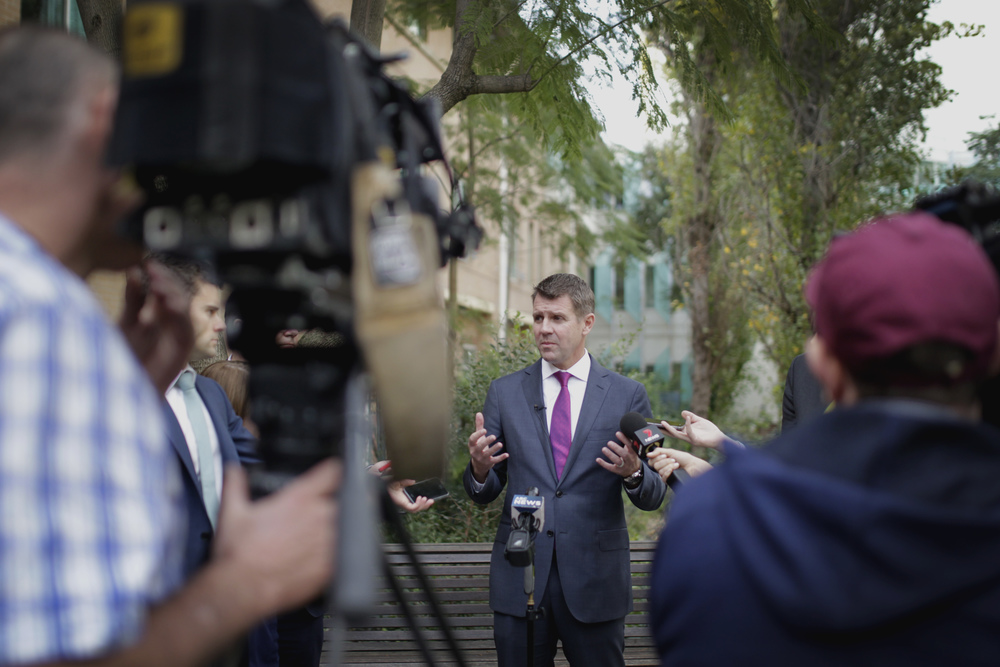 Premier Mike Baird answering questions from ABC journalist on various issues around ICAC. Picture: Simon Bennett (Bennett Photography)