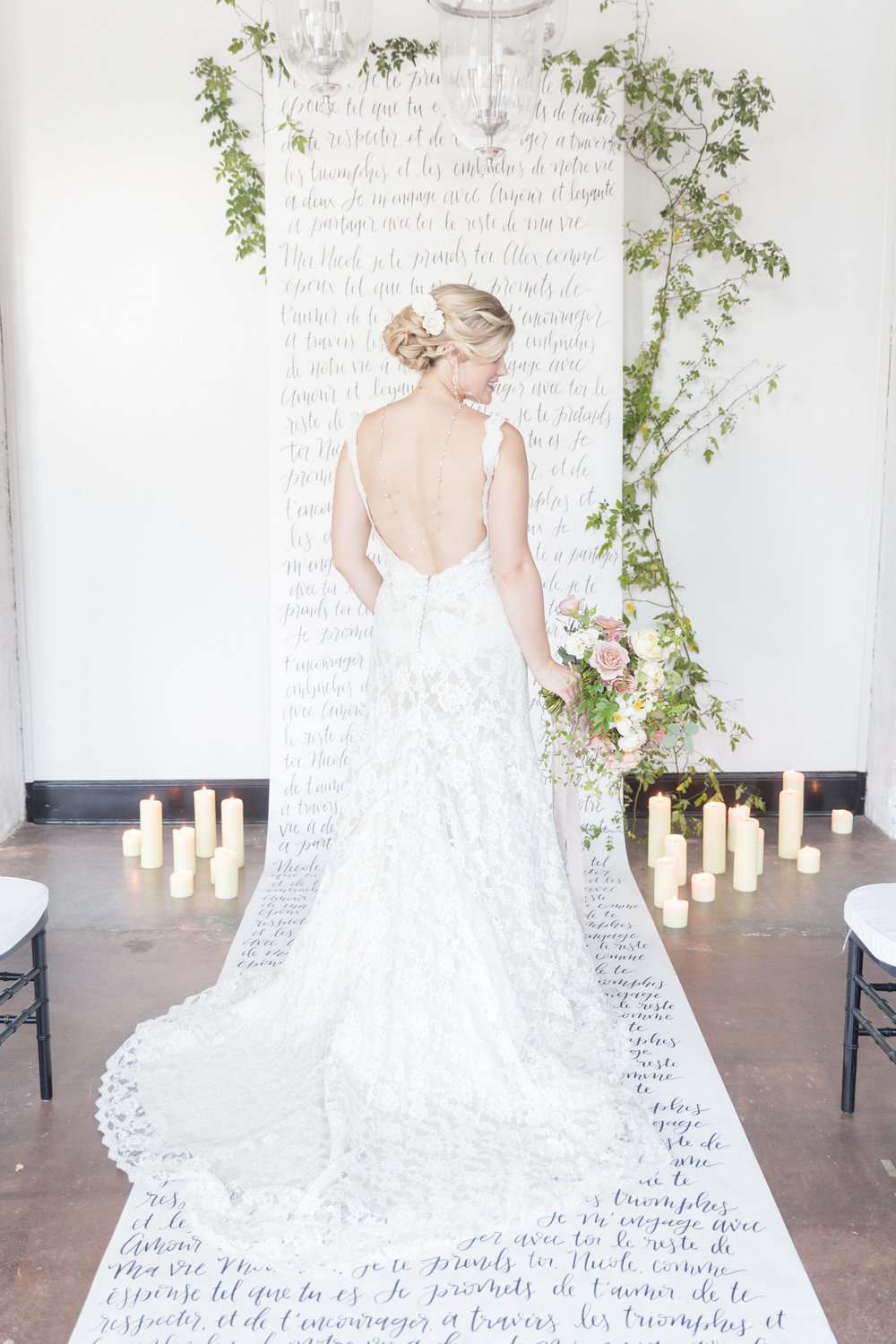 Calligraphy Backdrop | French Couture Styled Shoot