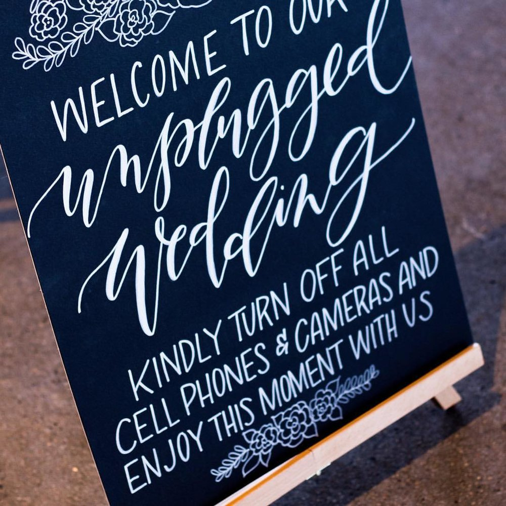 welcome wedding sign chalkboard calligraphy hand lettering