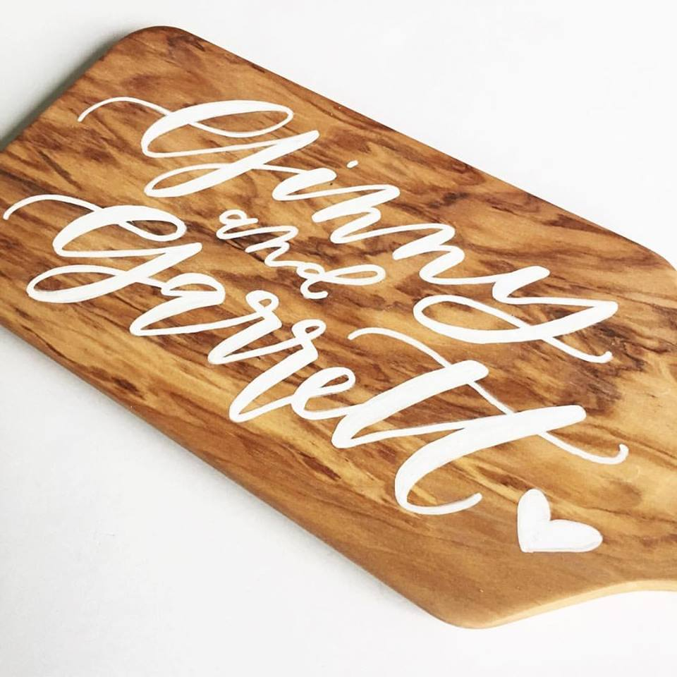 hand lettered cheese board