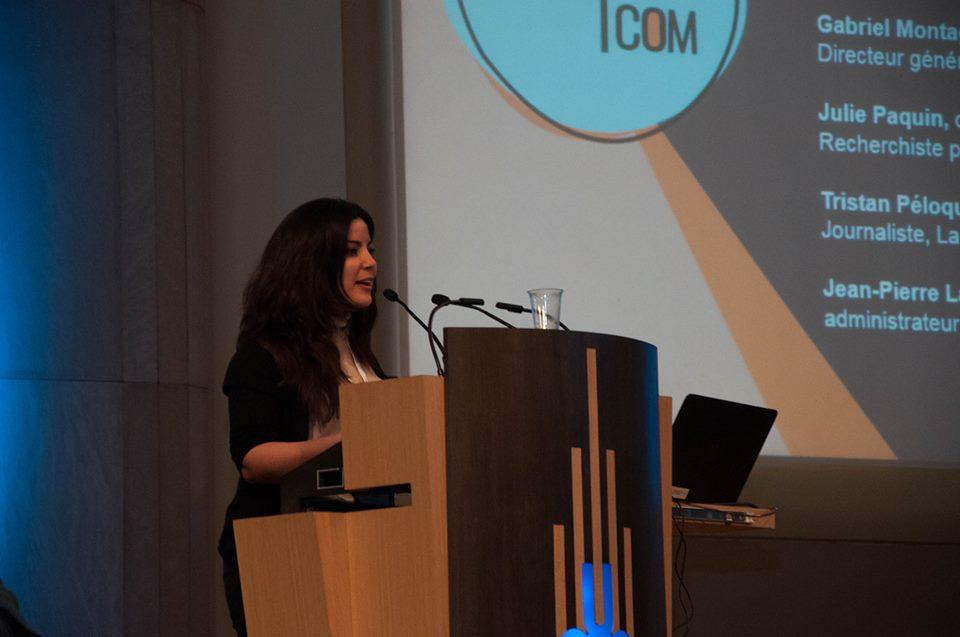 Khaoula, co-organisatrice du colloque,a choisi de poursuivre ses études jusqu'au doctorat.  Crédits photos: Caroline Streuli
