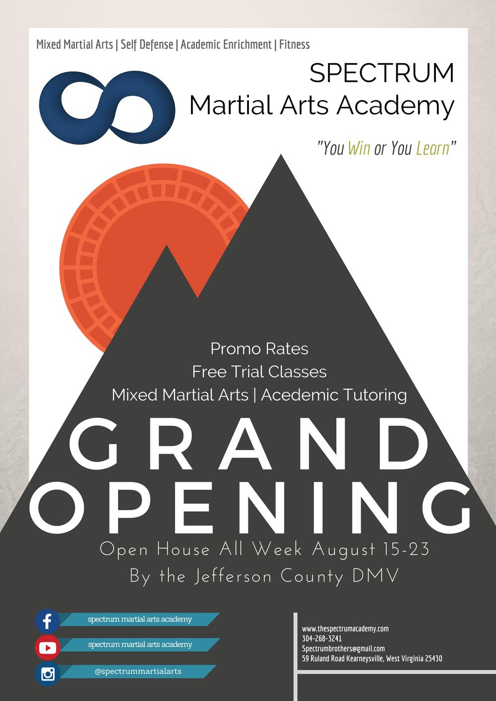 Grand Opening Flyer and Achievement System Poster Spectrum – Grand Opening Flyer