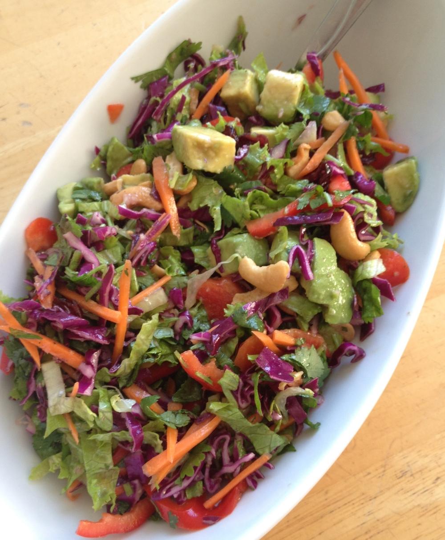 Shredded Asian Salad with Avocado, Cashews, &SesameDressing