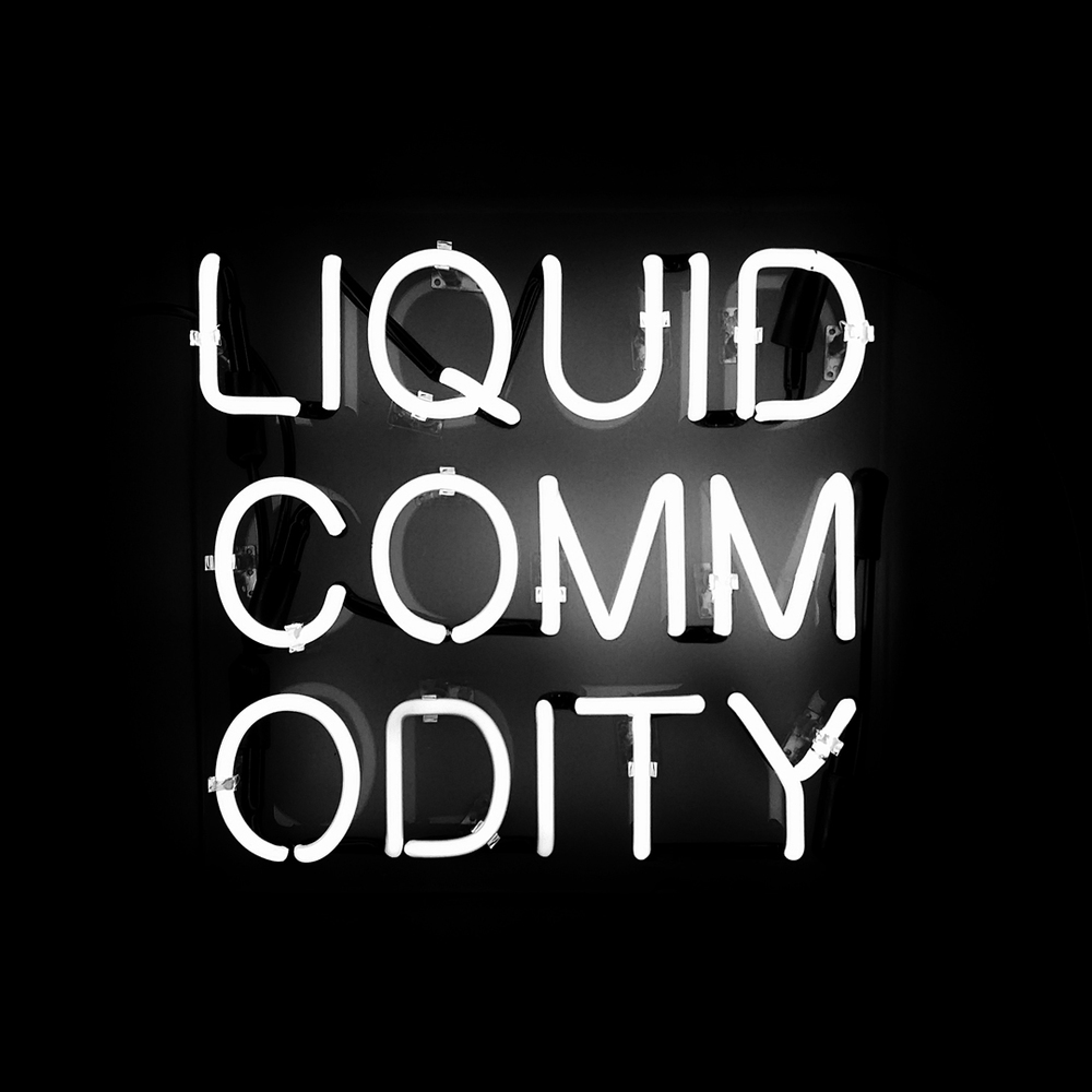 "Liquid Commodity - Neon on Plexiglass (2015) - 16"" x 16"""